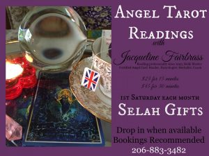 Events | Jacqueline Fairbrass | Selah Gifts | SnoValley | Psychic | Tarot & Tea | Tarot Readings SnoValley